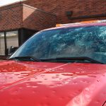 Hailstorm, hail, damage, red car