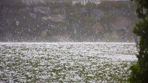 hailstorm, hail, field, falling