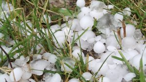 Hail, ice, grass