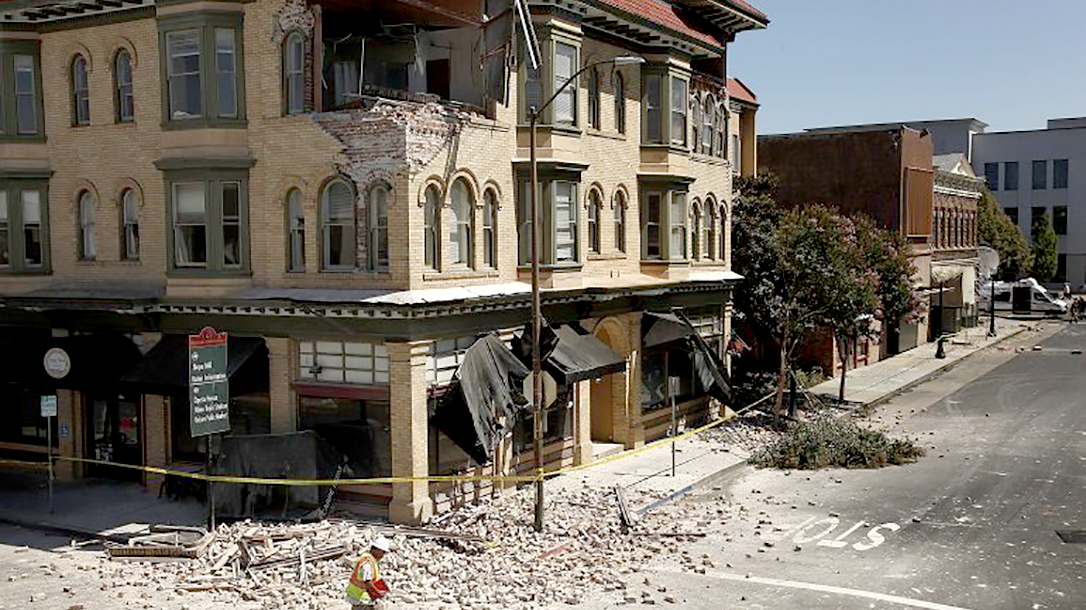 napa, street view, earthquake damage
