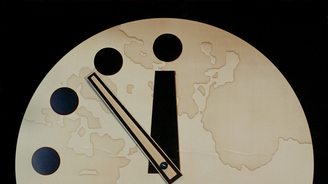 doomsday clock, clock face, hands, seconds