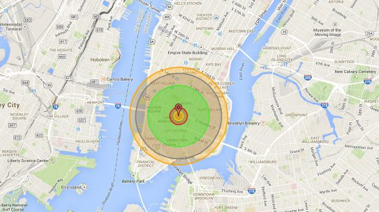 nuke map, map, New York, Manhattan