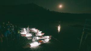 Oru kayak, night, lake, lit up
