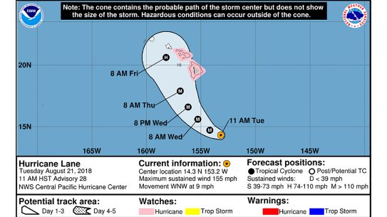 Map of the path of Hurricane Lane