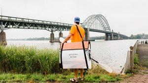 Oru kayak, folded, pack, bridge, river
