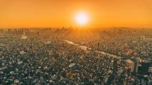 sun, summer, cityscape