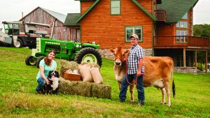 Energy Efficient Home, cow, tractor, dog, farmhouse