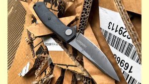 Kershaw Concierge knife, cardboard cut