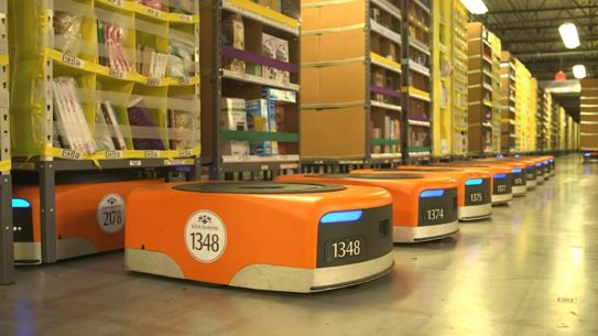 robots, warehouse, boxes