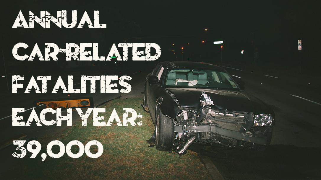 black car, night, road, accident.