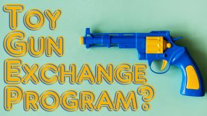 blue and yellow toy gun
