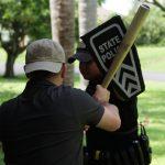 baseball bat, police, sheild