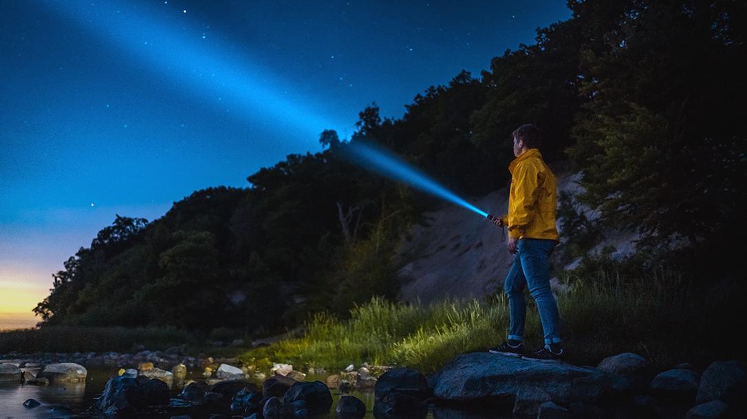 Flashlight, river, night
