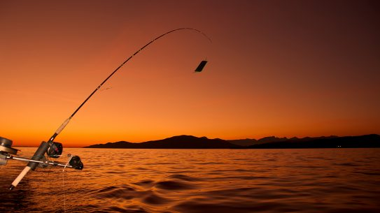 lures, fishing, fishing pole, sunset