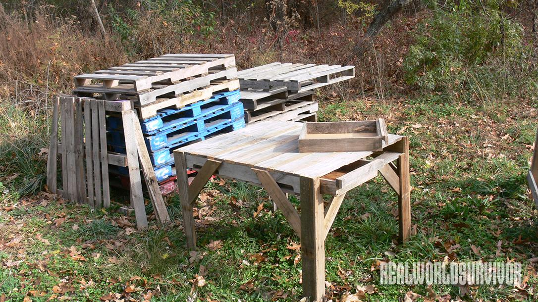 Pallet furniture, table, pile of pallets