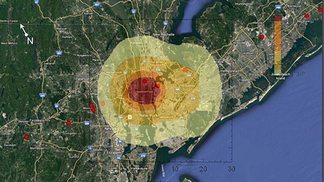 map, meteor strike, New York
