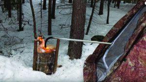 fire log, tent, snow, heater