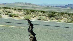 earthquake, fault, cracked road
