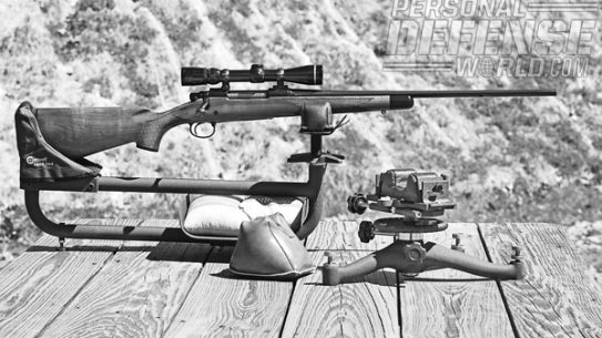 At left is the Lead Sled, which is ideal for harder-kicking rifles. At right is the Rock benchrest and rear sandbag for more conventional cartridges.