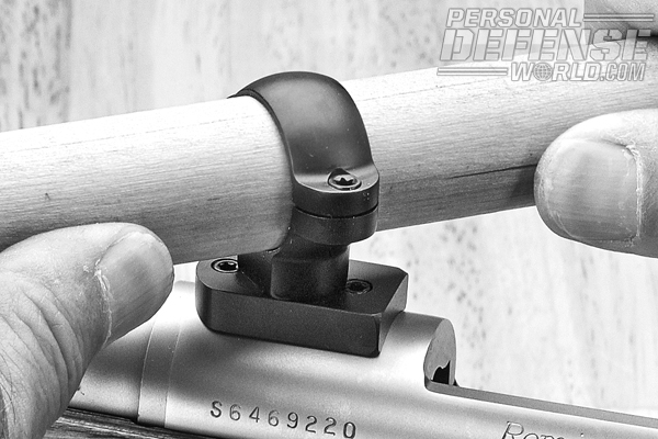 Never use the scope to turn the front ring in its mount. This could harm the scope and your efforts on the bench. Instead, use an inch dowel.