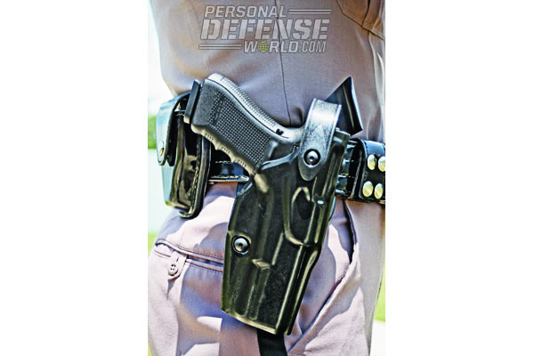 This Safariland SLS security holster works for GLOCK 37 Gen4s, available for troopers who don't feel they need to carry their sidearm with a pre-mounted light.