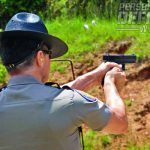 Brass flies as Trooper Manuel Smyrnios experiences his first time shooting the new GLOCK 37 Gen4.