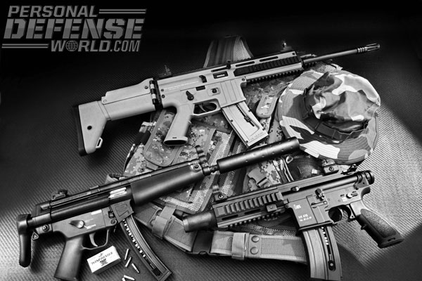 Same guns, smaller caliber is the ideal recipe for .22 tactical rifles and pistols. Most of the major models chambered in 9mm and 5.56mm are duplicated in .22 versions such as the ISSC MK22 (top) based on the FN SCAR, and two models from HK (lower) built to duplicate the original 9mm MP5 and the 5.56mm 416. The HK .22s are manufactured in Germany by Carl Walther.