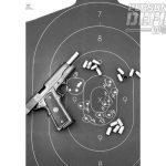 A B-27 silhouette target was set out at 25 yards. Best 5-shot group fired from a bench rest was with CorBon 185-gr. DPX measuring 1.5 inches.