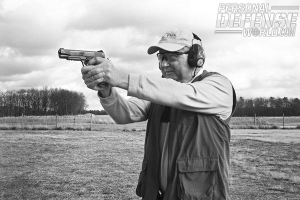The .45 ACP is very easy to control in a full-size service pistol such as this Kimber Desert Warrior.
