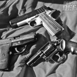 Handguns chambered for the 9mm are available in the widest variety of configurations including the Kimber Aegis (top), Sig Sauer P239 (middle), and S&W 547 (bottom).