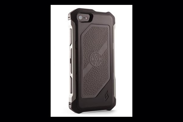 HEC iPhone 5 Rogue Black-Ops | Belt Holster | Black TPU Cover Gun Metal Grey Aluminum-Rails | Grey Cobblestone Rubber