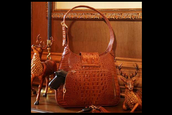 Concealed Carrie Crocodile Print Leather Hobo Bag