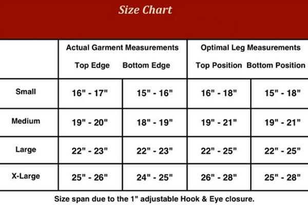 Gun Goddess Classic Thigh Garter Holster Size Chart