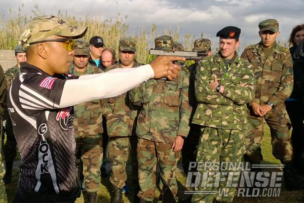 Glock captain KC Eusebio demonstrating