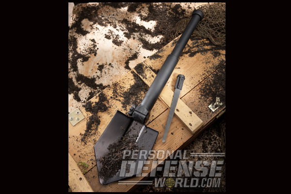 Housed in the handle is a sturdy tool steel saw that works as well on hardwoods as it does on roots. The tip is ground to act as a large flat-head screwdriver.