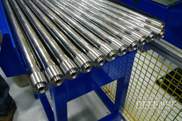 Hammer-forged barrels right off of the machine, ready for the next stage of production.