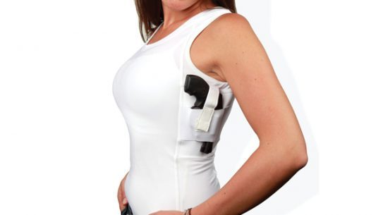 Well Armed Woman Concealment Under Shirt Tank   White