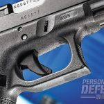 The G22's paddle trigger is one of three safeties making up the pistol's Safe Action firing system.