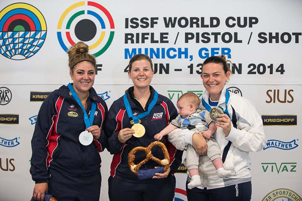 (L-R) Silver medalist Janessa Jo BEAMAN of the United States of America, Gold medalist Victoria Rose BURCH of the United States of America and Bronze medalist Alessandra PERILLI of San Marino pose with their medals after the Trap Women Finals at the Olympic Shooting Range Munich/Hochbrueck during Day 1 of the ISSF World Cup Rifle/Pistol/Shotgun on June 6, 2014 in Munich, Germany. (Photo by Wolfgang Schreiber)