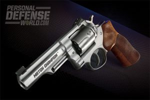The new Ruger GP100 Match Champion delivers .38 Special/.357 Magnum performance and power in a great handling and highly shootable package. Its excellent, ergonomic grips and well-balanced 4.2-inch barrel make it a surefire winner on the range.