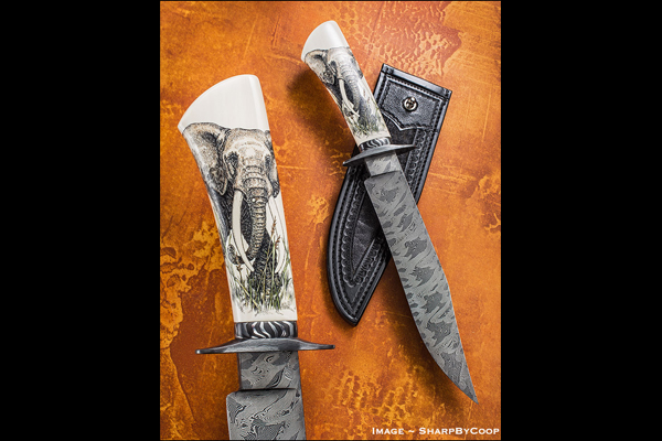 "Knife Rights is auctioning off ""Standing Our Ground"" a custom-made collaboration bowie knife with a scrimshawed ivory handle, to raise funds to fight the ivory ban."
