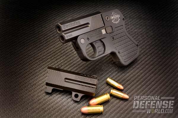The new Double Tap over/under pistol is available with interchangeable barrel sets, including the 9mm and .45 ACP barrels (shown).