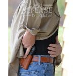 For carry, the author used the new DeSantis 019 Q3 mini scabbard made for the DoubleTap. The all-leather, form-fit holster keeps the gun close to the body for maximum concealment.