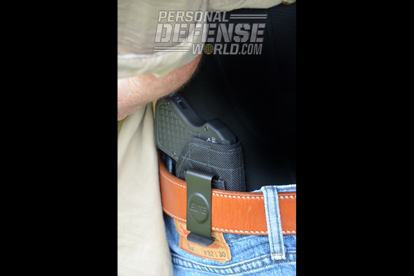 Another current-production holster that fits the DoubleTap perfectly is the Elite Survival Systems BCH-7 Belt Clip IWB. Made from ballistic nylon with a stitched waffle pattern for extra durability, the reversible spring-clip IWB works for left- and right-handed users.