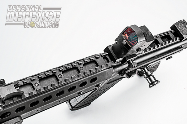 Attaching a red-dot sight makes the MPAR556-P a potent defense weapon in close quarters.