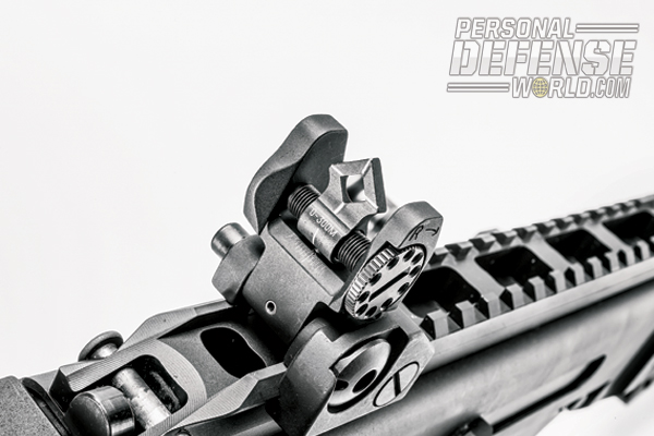 Flip-up iron sights can be used as the primary sighting system or as backups to optics or red-dot sights.