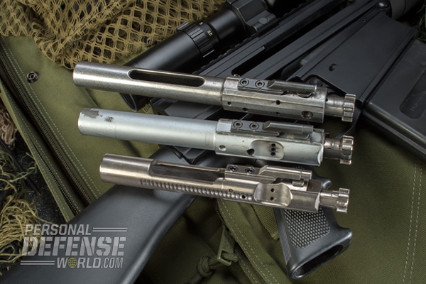 Internally, the BN36 functions like nearly every AR-15, it's just bigger. Note the size difference of the BN36 bolt (top) compared to the others.