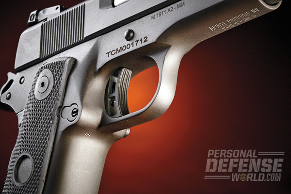 The .22 TCM's skelotonized, serrated trigger broke crisply with no discernable creep.