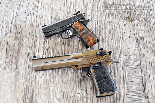 Placed beside its .50-caliber cousin, the Desert Eagle Mark XIX, the 1911U looks compact indeed. The gun's 3-inch barrel and lightweight frame make it ideal for concealed carry.