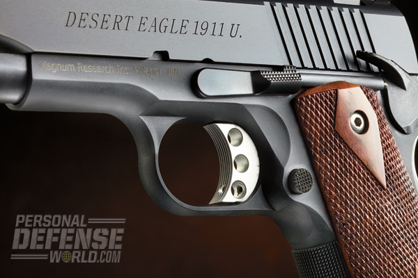 The 1911U uses a lightweight, skeletonized, serrated and travel-adjustable trigger.